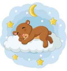 Cartoon babear sleeping on clouds vector
