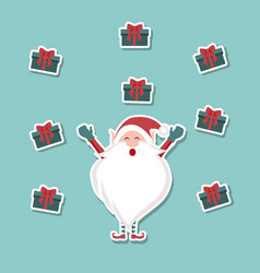 cartoon background of happy santa claus and gifts vector image