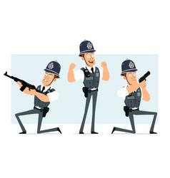 cartoon flat funny strong policeman character set vector image