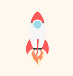 cartoon rocket space ship take off isolated vector image