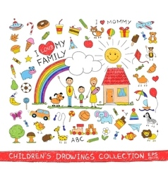 child hand drawing happy family vector image
