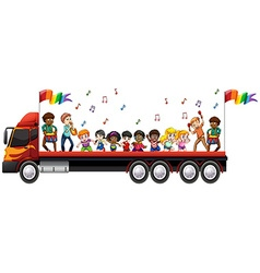 Children singing and dancing on the truck vector