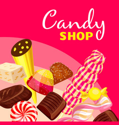 Choco candy shop concept background cartoon style vector