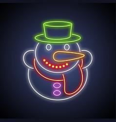 christmas snowman neon sign vector image