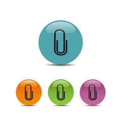 clip icon on colored buttons vector image