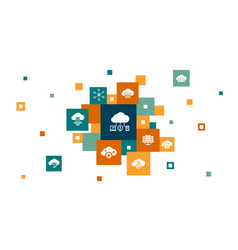 Cloud computing infographic 10 steps pixel design vector