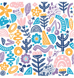 collage style seamless repeat pattern with vector image