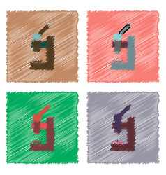 collection of flat shading style icons laboratory vector image