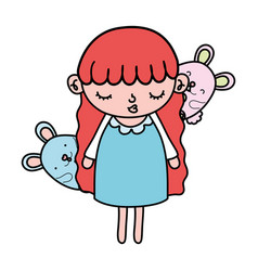 Color beauty girl child with mice animals vector