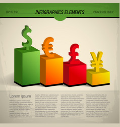 colored currency infographic vector image vector image