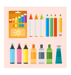 Colored engineering paints and pencils vector