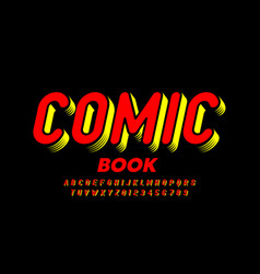 Comic book style font alphabet letters and numbers vector