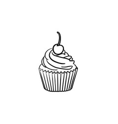 Cupcake hand drawn sketch icon vector