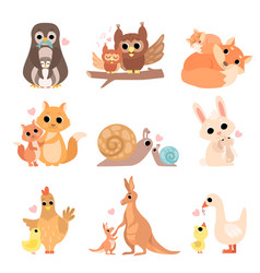 Cute animal families set penguin owl squirrel vector