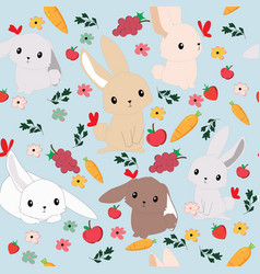 cute cartoon rabbit bunny seamless pattern vector image