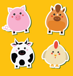 Cute kawaii farm animals stickers set vector