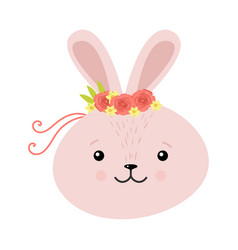 Cute rabbit in a wreath flowers raster vector