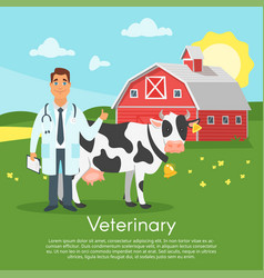 doctor character with cow vector image