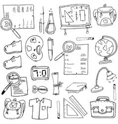 Doodle of school element bag globe shoes vector