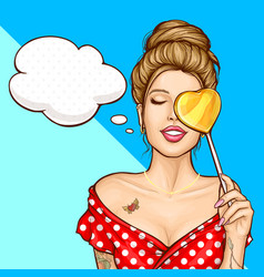 Dreaming attractive pin-up woman cartoon vector