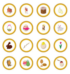 easter cartoon icon circle vector image