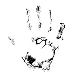 Fat human hand imprint on black vertical vector