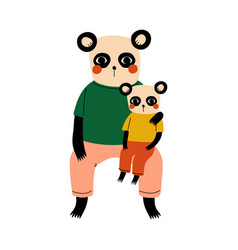 father panda and his kid loving parent animal and vector image