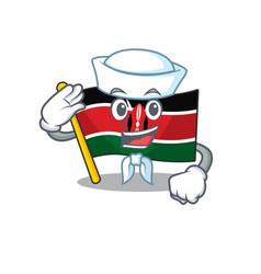 Flag kenya sailor cartoon with character happy vector