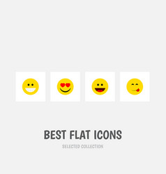 flat icon face set of love delicious food laugh vector image