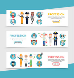flat professions horizontal banners vector image