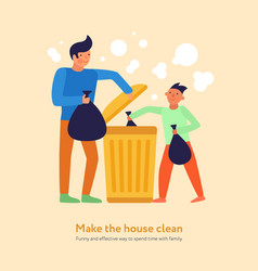Garbage cleaning father son vector