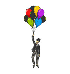 gentleman fly on air balloons color sketch vector image
