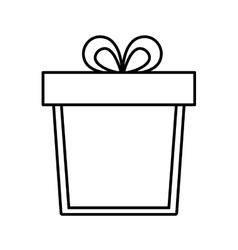 gift box ribbon anniversary party linear vector image