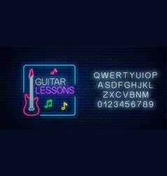 Guitar lessons glowing neon poster or banner vector