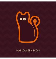 Halloween black cat silhouette icon vector