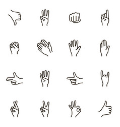 hand gestures signs black thin line icon set vector image