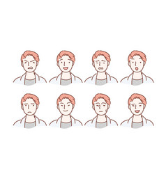handsome guy with different facial expressions vector image