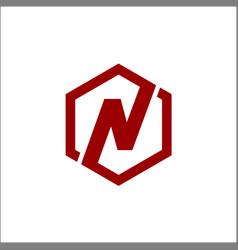hexagon n letter logo vector image