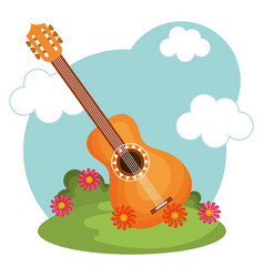 Hippie guitar design vector