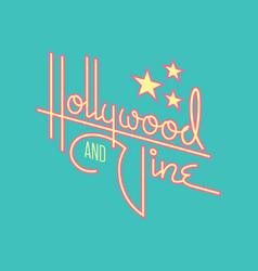 Hollywood and vine retro design with stars vector