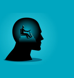 human head being controlled a businessman vector image