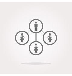icon button with network of man inside vector image