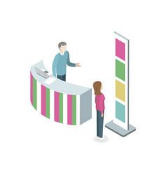 Information stand with manager isometric element vector