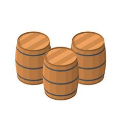 isometric barrels isolated on white background vector image