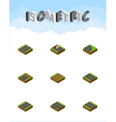 Isometric road set of unfinished downward vector