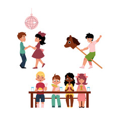 Kids dancing eating and playing with stick horse vector
