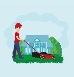Lawn mower man gardener cartoon vector