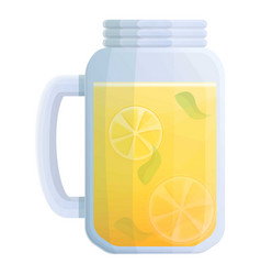 Lemonade glass jar icon cartoon style vector