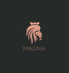 lion logo design icon symbol logotype side vector image