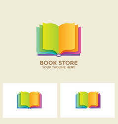 Logo book shop template learning education book vector